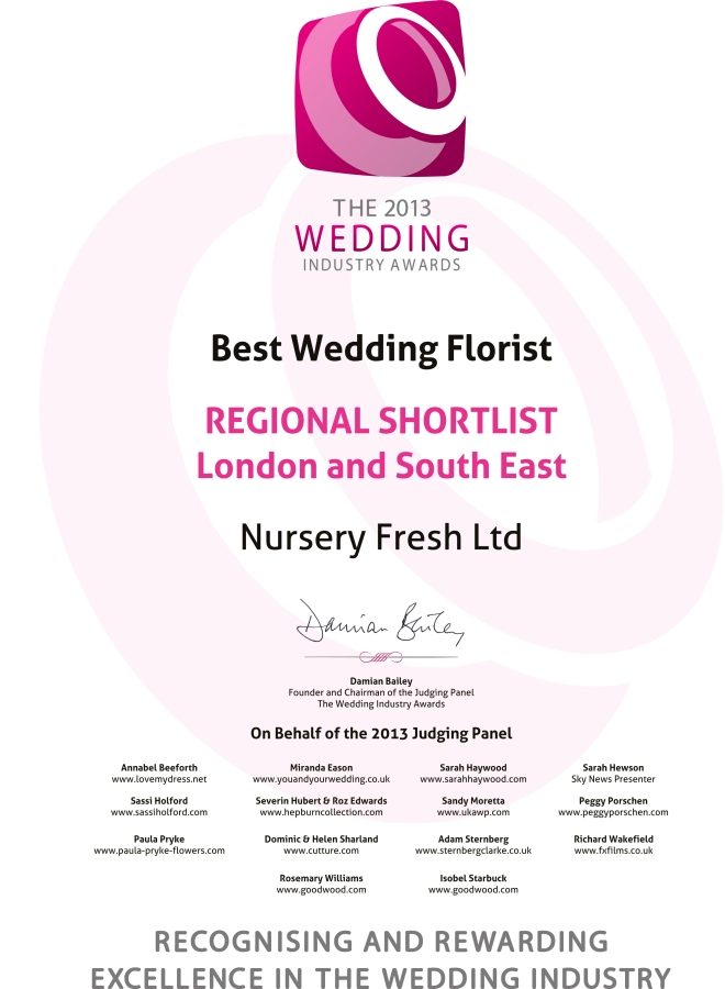 The 2013 Wedding Industry Awards REGIONAL SHORTLISTLondon